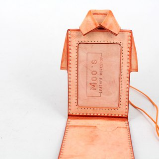 MOOS X WASOME ORIGAMI Fully hand-sewn ID card holder (Orange)