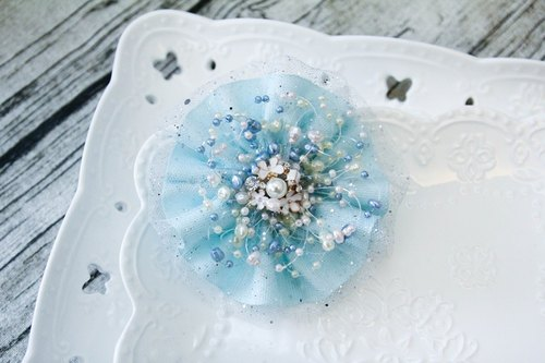 Fantasy light blue gauze wave bangs clip