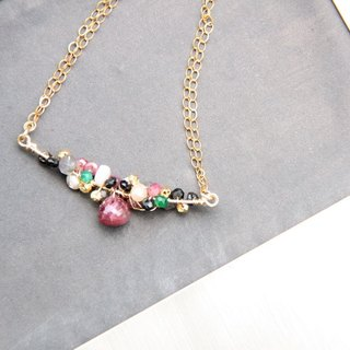 Psychedelic Ruby Necklace / Ruby with multi semi precious stones 14KGF