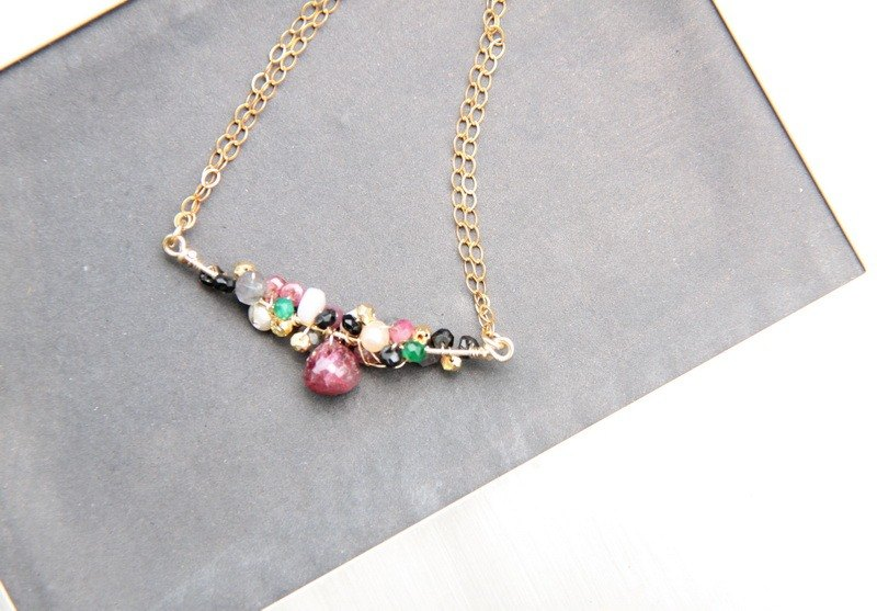 迷幻紅寶石項鍊/ Ruby with multi semi precious stones 14KGF