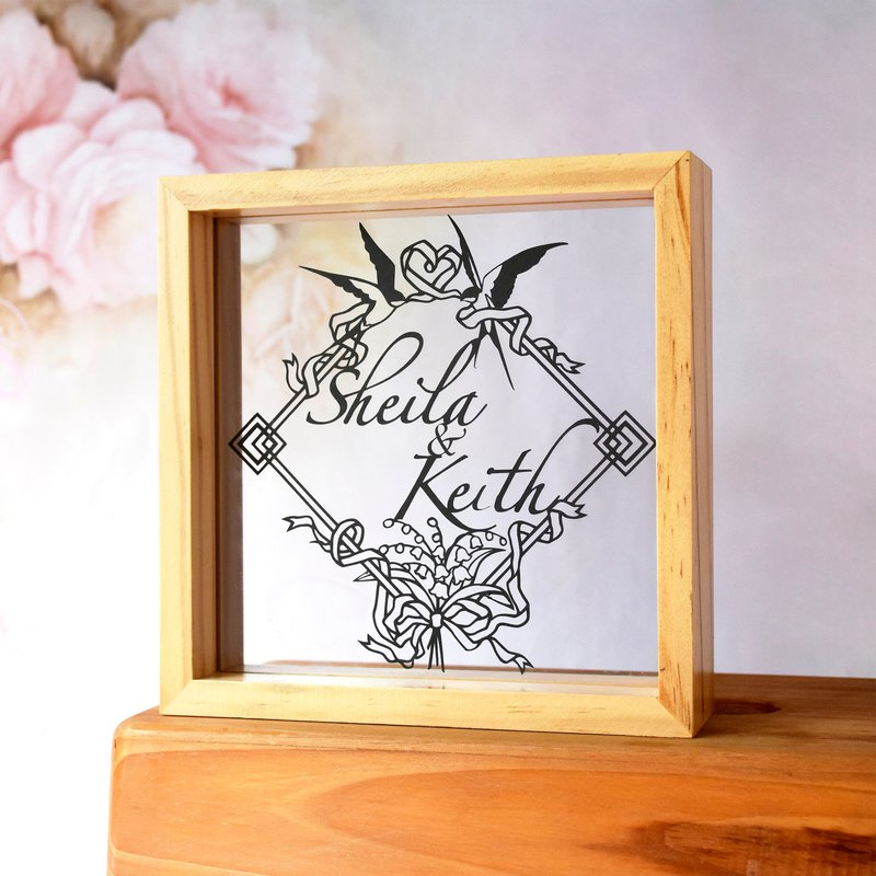 Handmade Paper craft Customized Personalized Frame, Ribbon Swallow Theme