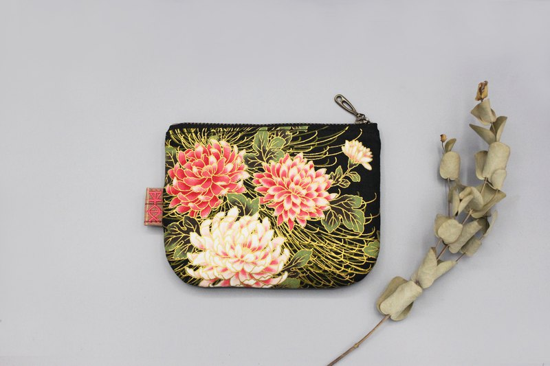 Peaceful little bag - flower rich (black), double-sided two-color wallet