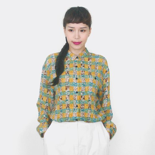 Yellow-green checked chiffon vintage long-sleeved shirt BG4001