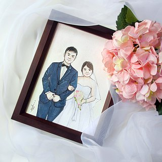 DUNMI meters / wedding gift A5 hand-painted Q version wedding illustration (with box)