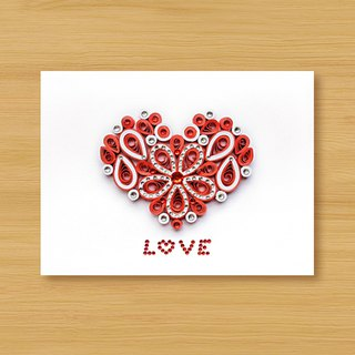 Hand-rolled paper stereo card _ cherish LOVE - love red... lover card