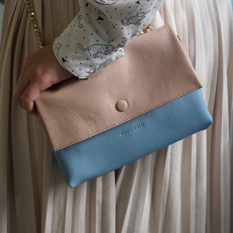 Apricot And Blue Sheepskin Mini Pouch