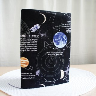 Lovely [Japanese cloth] hot silver double-sided cloth book [12 constellations in the universe, black] A5 hand account