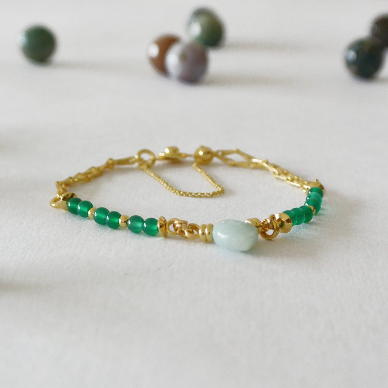 2018SS-little spring green agate brass bracelet good quality 18k gold