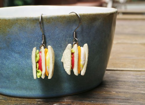 [To] a breakfast sandwich cheese egg earrings