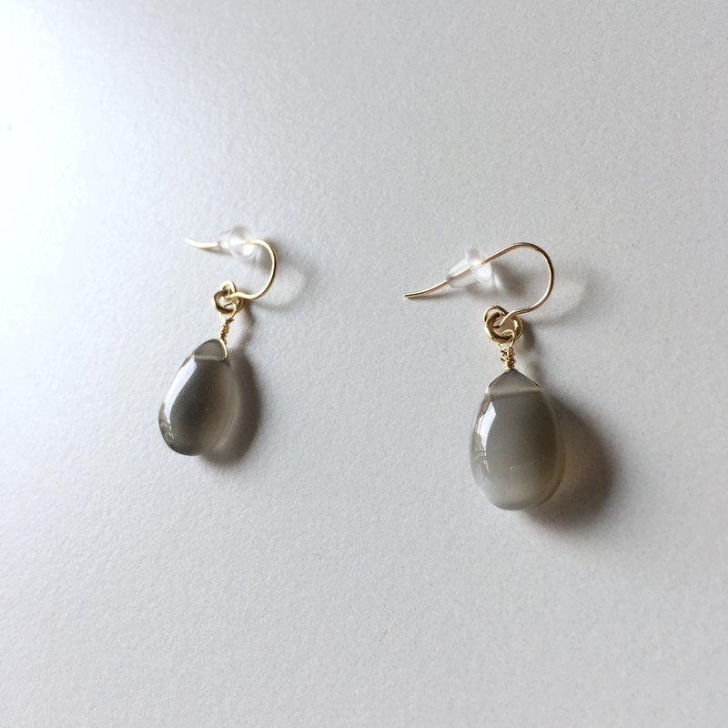 6月の誕生石 Gray moonstone earrings 14KGF