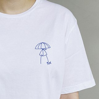 woman in the rain illustration T-shirt (white)