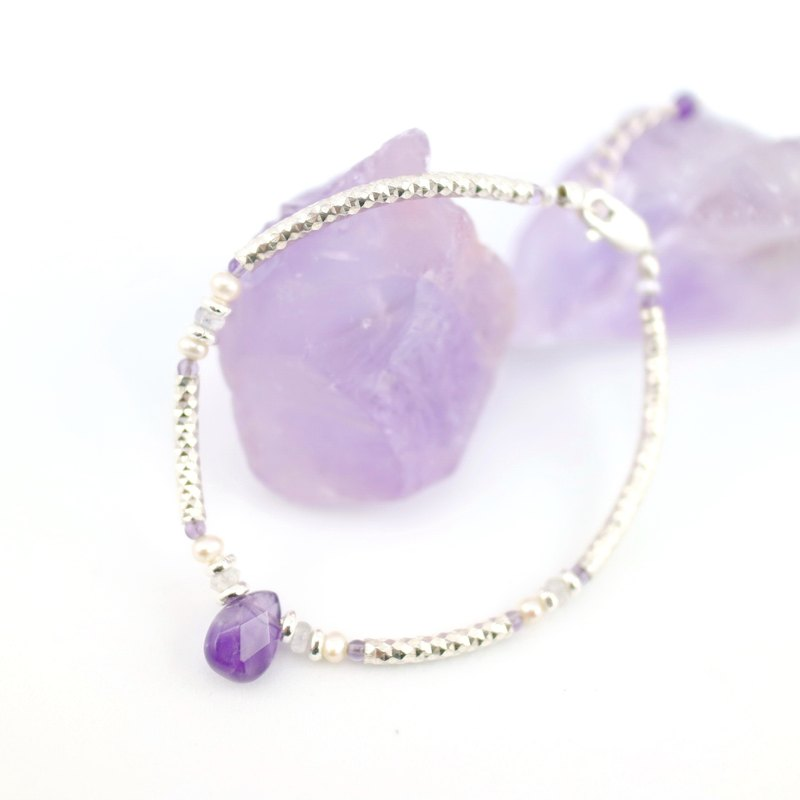 [ColorDay] Dazzling ~ _ natural amethyst pearl sterling silver bracelet <Amethyst _ Pearl Silver Bracelet>