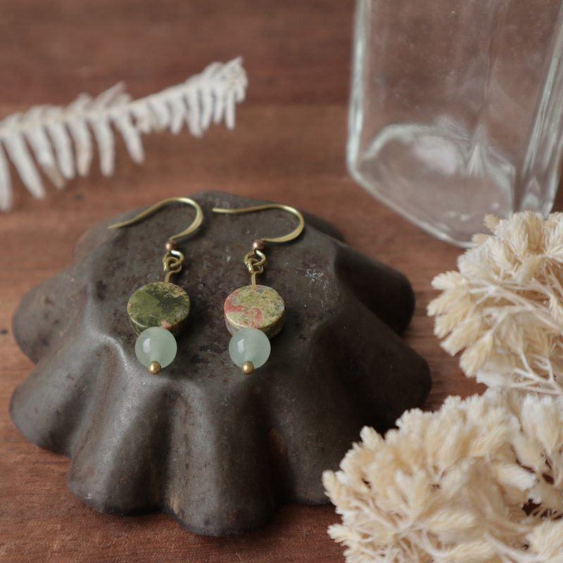 Natural Stone Geometric Brass Earrings - Botany