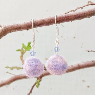 Girl's dream blue amethyst hand-made wool felt earrings can change ear clip