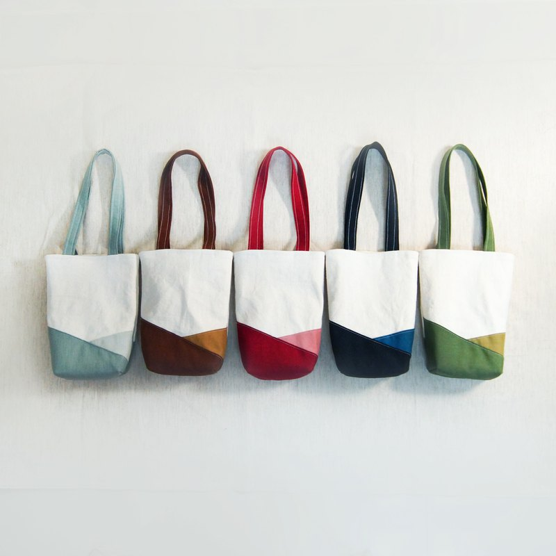 Natural color series color matching cotton fabric environmental protection beverage tote bag 5 colors