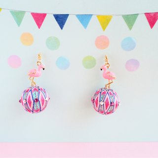 tachibanaya Flamingo Ball japanese TEMARI earrings pink mint green spring