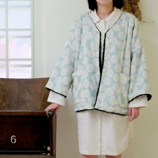 Japanese short version double-sided mint green / dark green soft coat