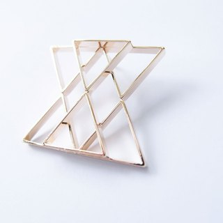 Geometric Landscape 21 Metal Brooch