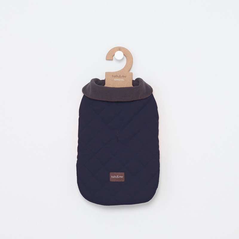 【Tail and I】 pet clothes lapel sleeveless cotton jacket dark blue