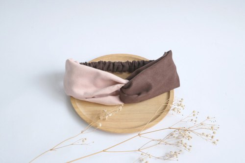 MaryWil Double Suede Hairband - Pink/Coffee