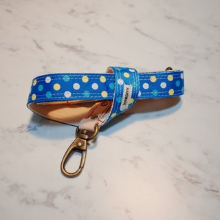[2017 new] dog towel retro turkey blue little cute plant 楺 leather length can be customized collar tag walk