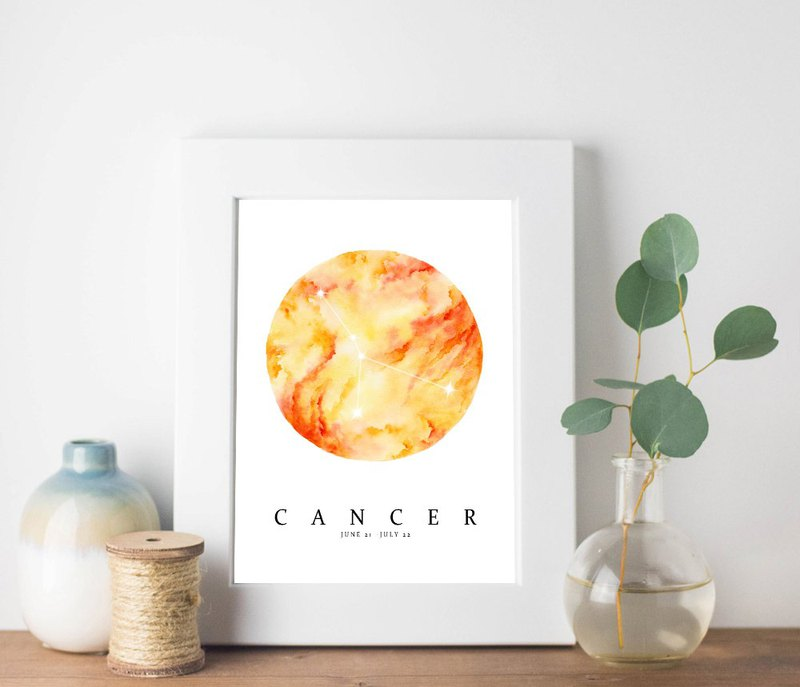 【Cancer】 Zodiac Watercolor Art Print. Marble Art Constellation Horoscope Stars.