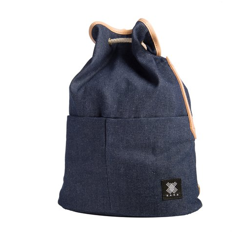 Valentine Light Weight Italy Cow Leather Voyage Backpack- Dark Jeans blue