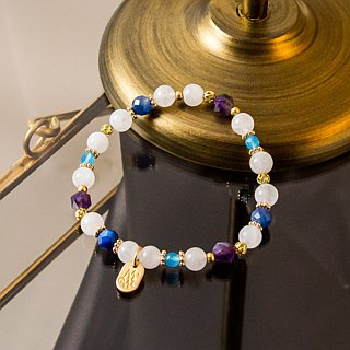 <Slow Temperature Natural Stone> C1228 White Moonlight Blue Crystal Bracelet // Flower and Alice