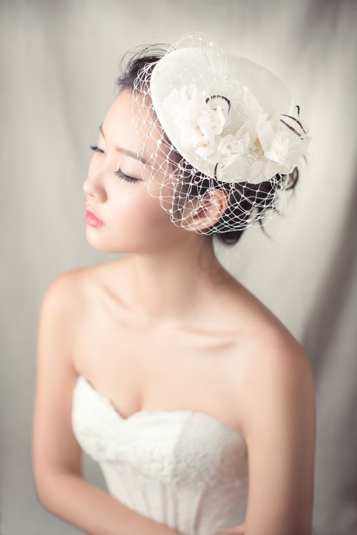 Silk velvet flat beret+birdcage+silk flowers / bridal headpiece/ hat/ hair fascinator