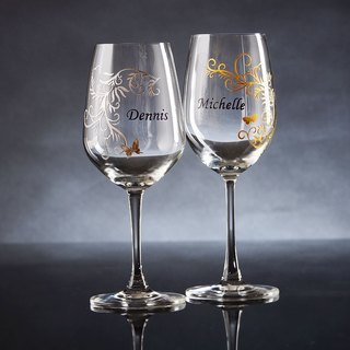 My Crystal Red Wine Glasses - Vintage Design ( including engraved names & date )