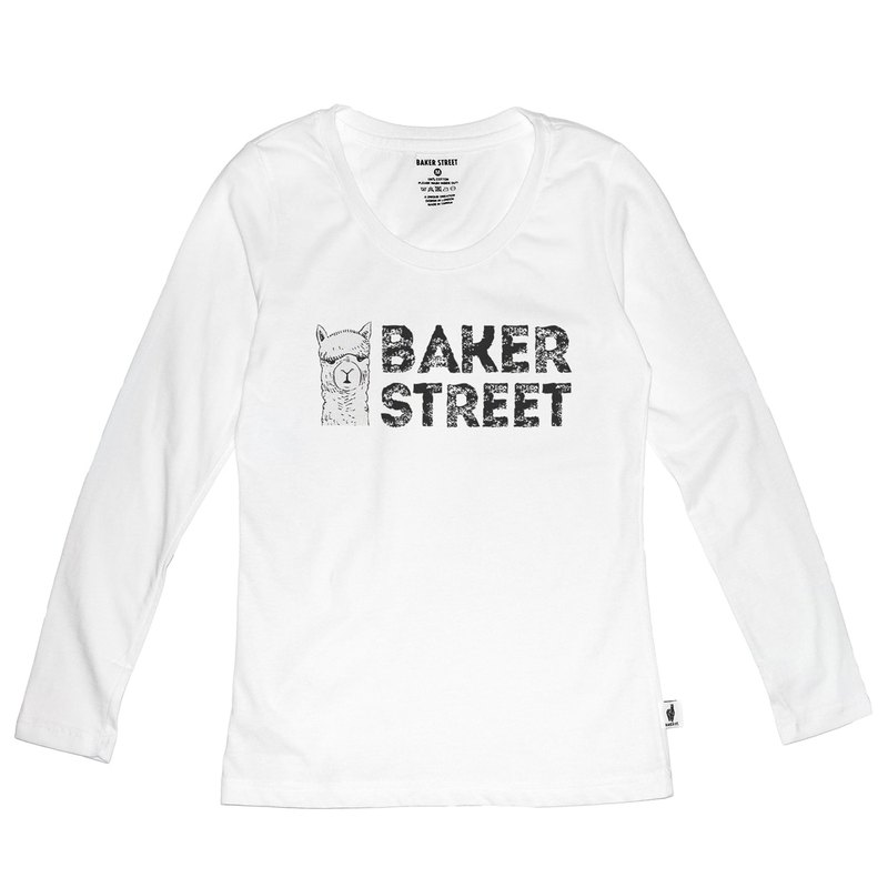British Fashion Brand [Baker Street] Alpaca Logo Printed Long Sleeve