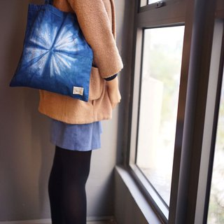 Indigo Hand-dyed Cotton Shopping Bag - Starry Night