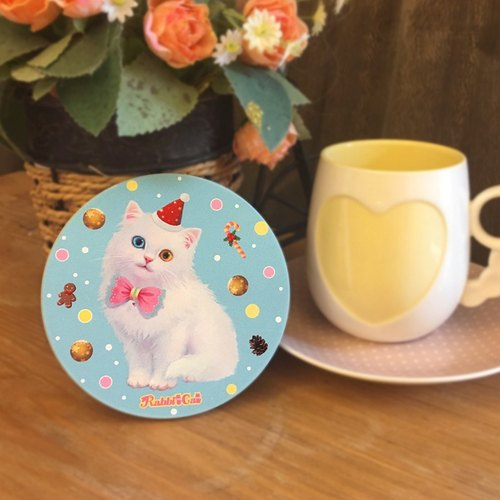 White Christmas cat illustration coaster / Rabbitcat