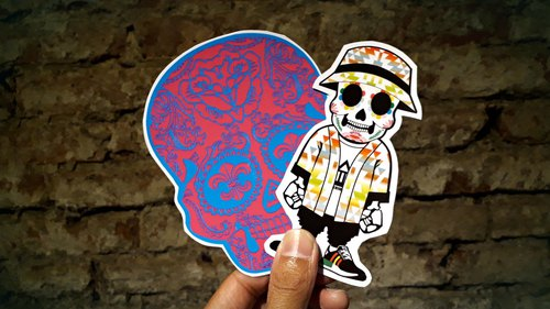 AMIN'S SHINY WORLD original souvenir skull skull doll waterproof sunscreen stickers combination package (a group of 10)