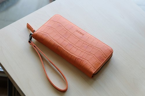 MeLLow - Round Zip Wallet - Juicy Orange (Cow leather with Croco Embossed)
