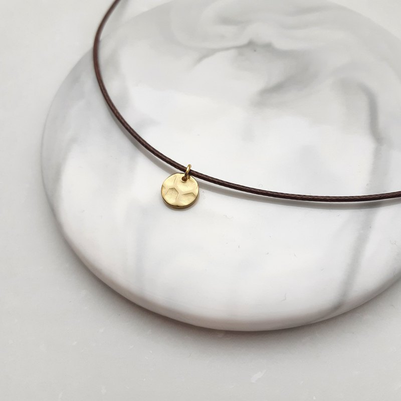 Wax line necklace embossed small round plain plain wax rope thin line