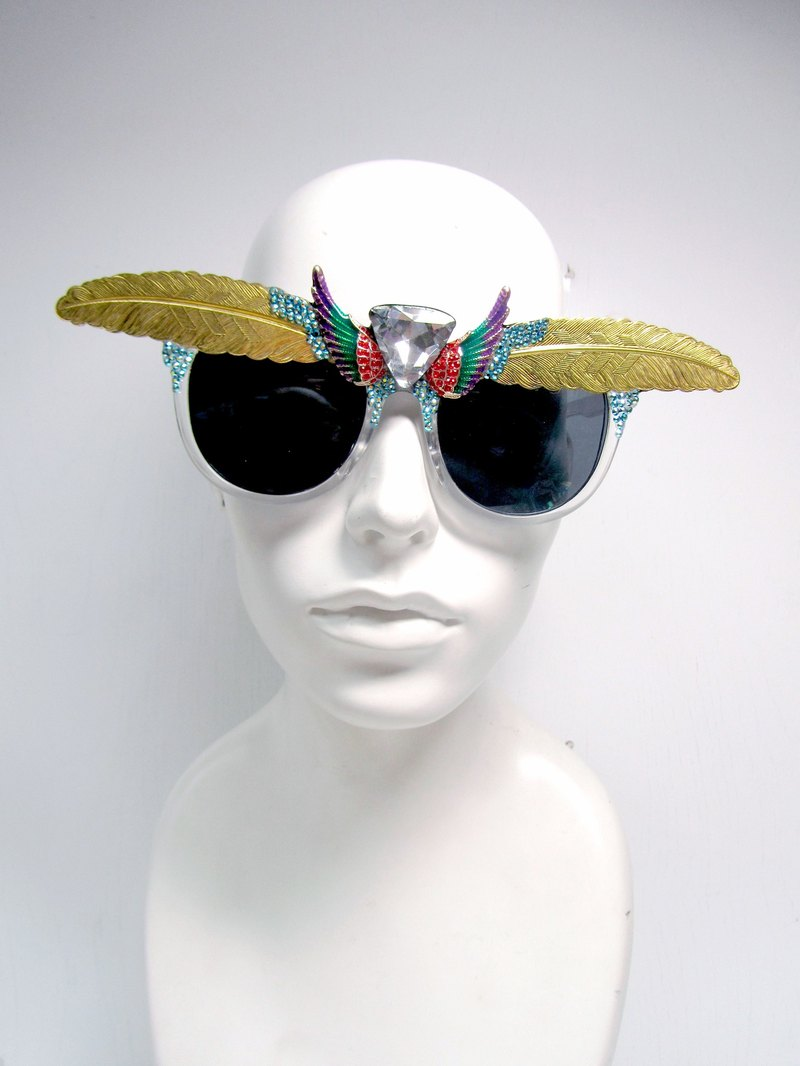 TIMBEE LO feather eyebrow wings sunglasses bird wing theme plated copper mirror optional color customization