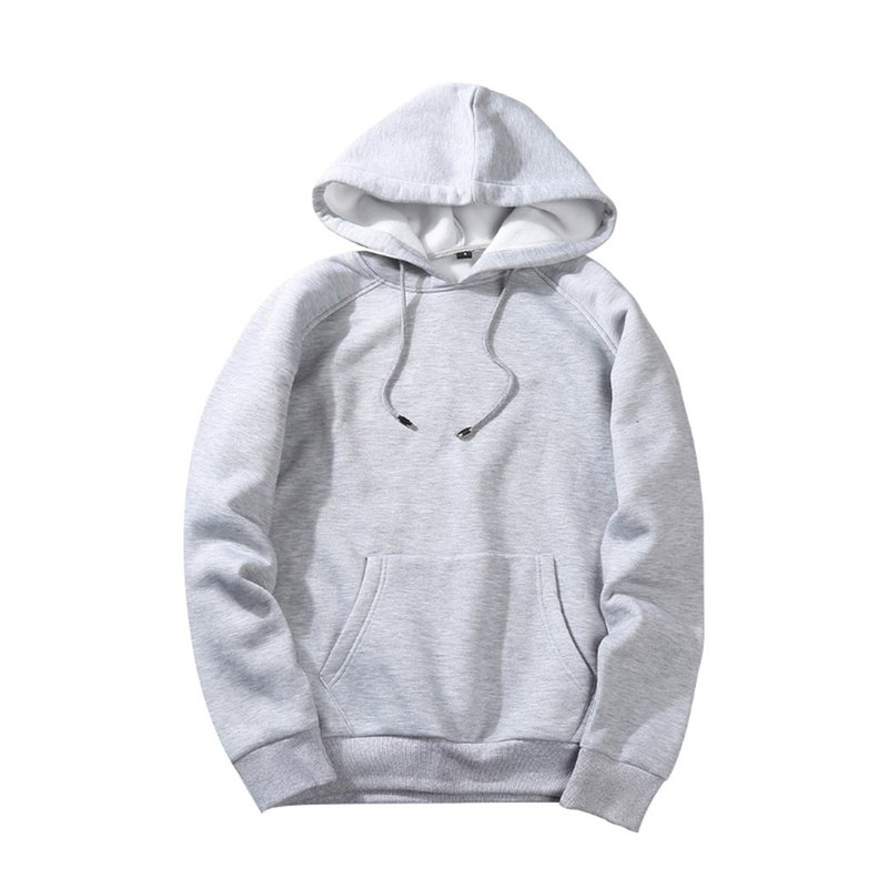 European and American version of fashion hooded T :: light gray::