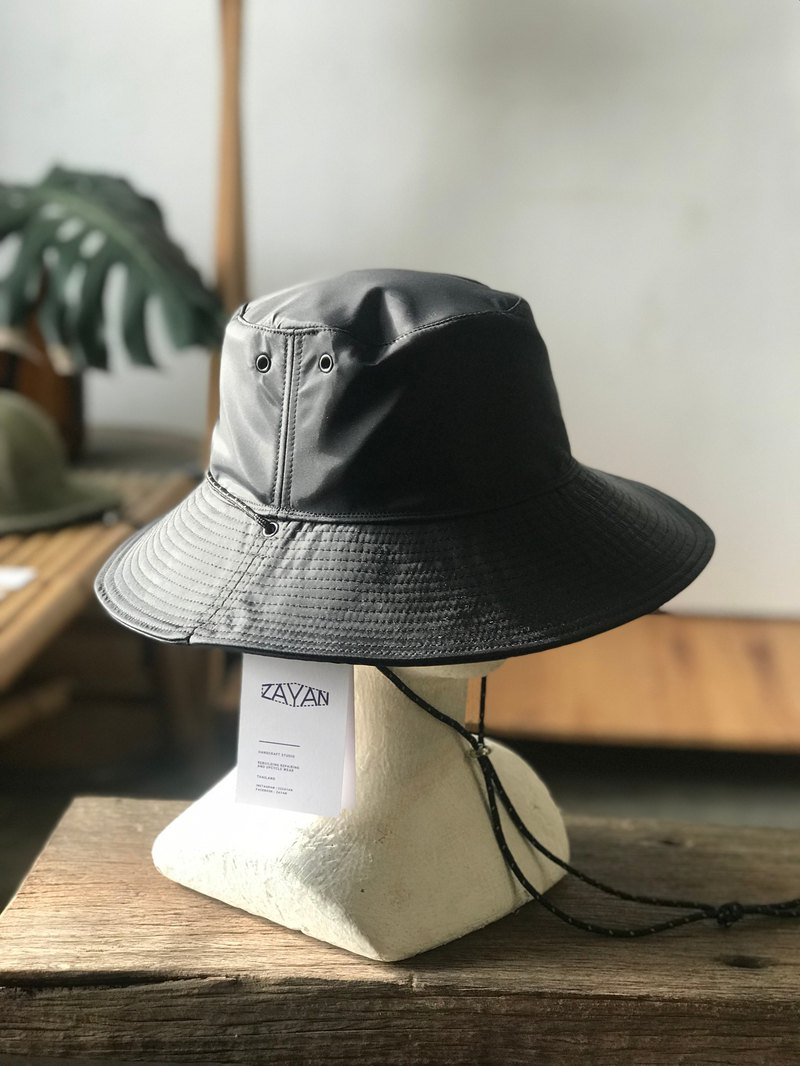 Bucket Black Nylon Hat (Waterproof)