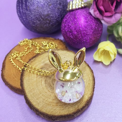 Rabbit ears crystal ball necklace snowball Bobo Rabbit Snow Ball Necklace