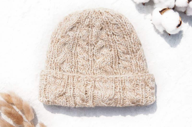 183ef2f9525 Hand-knitted pure wool hat   knit hat   knitted hat   inner brush hair
