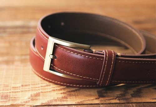 Lin Guoliang vegetable tanned carved gentleman belt chestnut red brown
