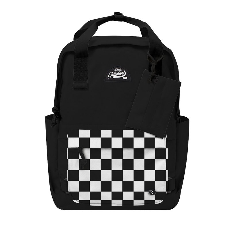 Grinstant Mashable 15.6-inch Rear Backpack-Black and White Series (Black with Checkerboard)