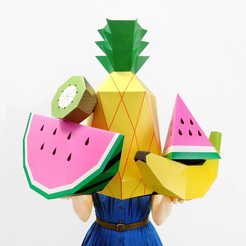 Giant Tropical Fruit Paper Sculpture Kit - DIY 3D Paper Craft Template Posters to make summer party decor, photo props and paper toys