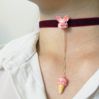 Piglets with ice cream Choker/  Necklace