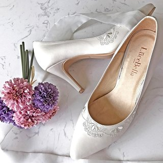 【Pattern happiness】 French embroidery handmade wedding shoes - Mickey-MIT all leather high-heeled shoes in Taiwan