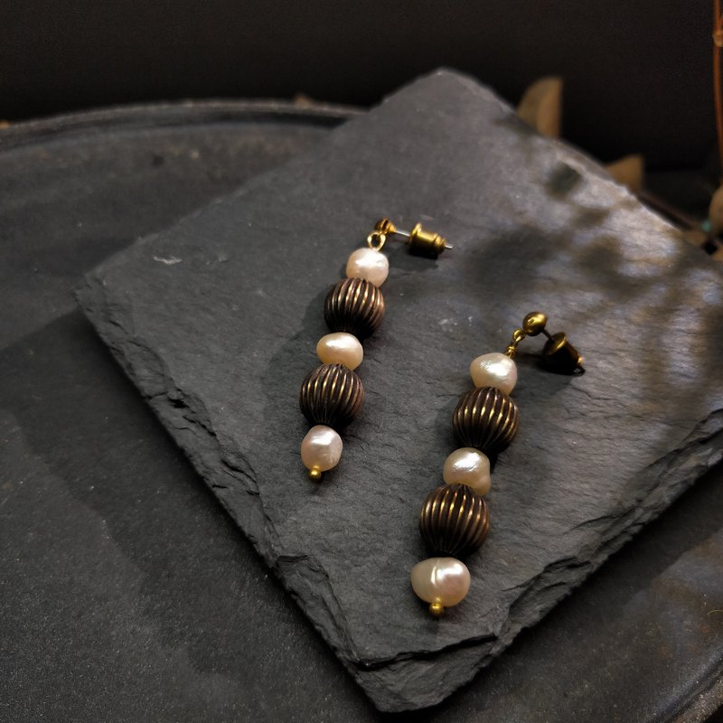 Pleated Lantern Earrings - Design Style - Brass Pearl (Changeable Clip)