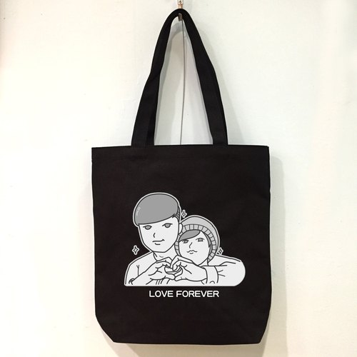 Custom black and white comic character style can add name (black) Shoulder Hand Canvas Bag / Christmas gift / exchange gift / graduation gift / Valentine's Day gift / wedding gift / exclusive custom / birthday gift / wedding small objects