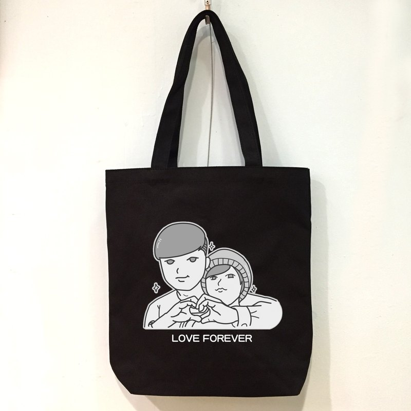 Customized black and white comic character style can add name (black) shoulder portable canvas bag