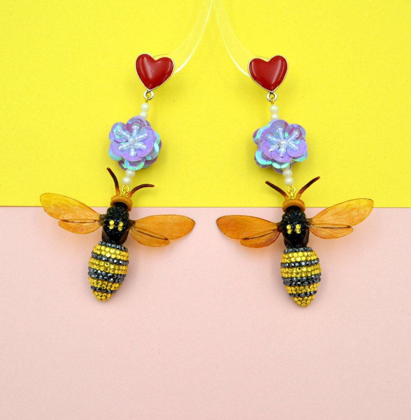TIMBEE LO No-foot version purple beads flower big bee earrings with Swarovski crystal beads flower
